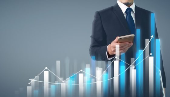 Businessman plan graph growth and increase of chart business.sma