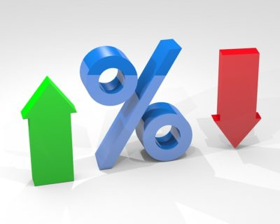 Percentage interest with arrows indicating high and low percentages isolated on white background